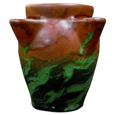Weller Pottery Greora Strawberry Vase Copper and Green Vintage 1930's