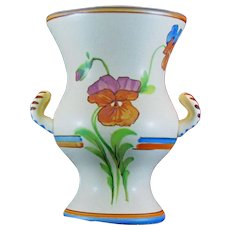 Vintage 1930's Weller Pottery Bonito Artist Signed Double Handle Urn Vase 7""