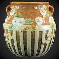 Roseville Cherry Blossom Vase #618-5 With Original Foil Label Artist Signed