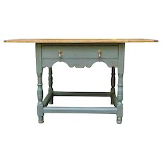 "Rustic 48"" farmhouse tavern table made by L. Sawyer Furniture Co"