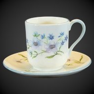 Shelley Mini Tea Cup & Saucer No.13591 Blue Rock Pattern Canterbury Shape