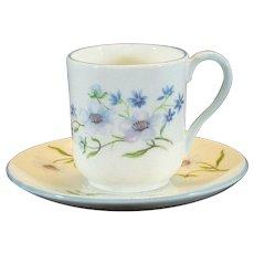 Shelley Mini Tea Cup & Saucer No.13591 Blue Rock Pattern Canterbury Shape