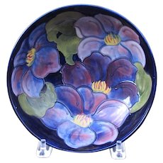"William Moorcroft Clematis 8 1/4"" Inch Bowl"