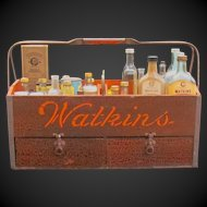 Wonderful Watkin's Pharmacy Salesman Sample Carrying Box with Contents