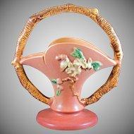 """Roseville Apple Blossom 8"""" Basket in Pink 309-8"""