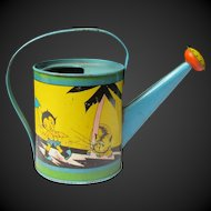 Fern Bisel Peat Deco Era Child's Tin Litho Sambo Watering Can