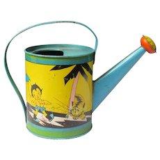 Fern Bisel Peat Deco Era Child's Tin Litho Sambo Watering Can