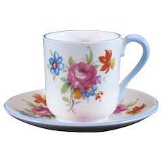 Miniature Shelley England *Rose Floral* Pattern Mini Tea Cup & Saucer Set