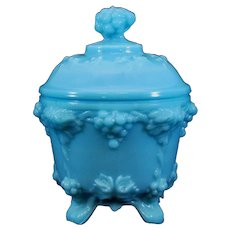 Portieux Vallerysthal France Blue Milk Glass Covered Candy Dish with a Grape Finial