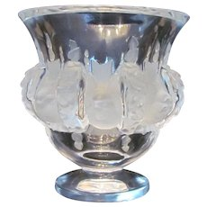 Lalique France Dampierre Frosted & Clear Crystal Glass Vase with Birds
