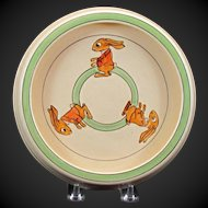 Roseville Juvenile Creamware Rolled Edge Bowl Plate with Three Bunnies