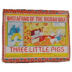 "Disney Three Little Pigs ""Who's Afraid of the Big Bad Wolf"" Bisque Figures with Box"