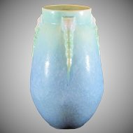 Roseville Topeo Arts & Crafts Pottery Matt Green to Blue with Pink Vase 662-9