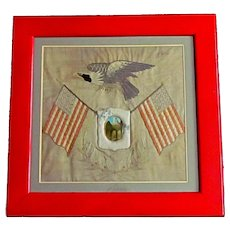 Patriotic Silk Needlework Sampler Flags & Eagle