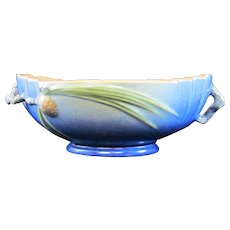 Roseville Pinecone Center Bowl in Cobalt Blue 279-9