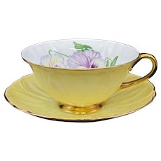 Shelley Pansy Footed Oleander Shape Cup and Saucer with Gold Trim #13831