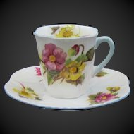 Shelley England Bone China Demitasse Cup & Sauce Dainty Shape Begonia Pattern 13427