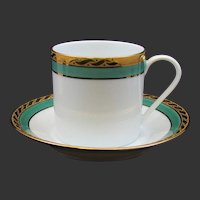 Tiffany and Co. Limoges France Cup & Saucer Green Band Pattern Gold Trim