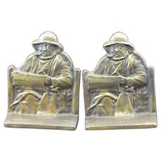 Cape Cod Fisherman Bookends Marked Copyright 1928