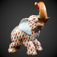Herend Hungary Porcelain Rust Fishnet Elephant Trunk Up #15266
