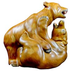Herend Pair Of Grizzly Brown Bears Playing Figurine Natural Color 15676