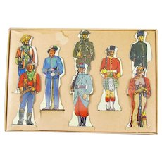 Soldiers of Fortune Set of 8 Tin Metal Figures Louis Marx & Co. Made in the USA Original Box