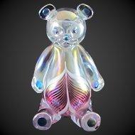 Signed Stuart Ableman Art Glass Iridescent Pulled Feather Teddy Bear 2004