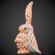 Herend Rabbit One Ear Up 5325 - Rust Fishnet - Bunny Collection