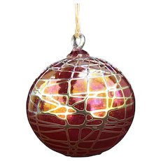 Signed Stuart Ableman Art Glass Iridescent Ornament