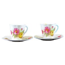 Pair of Shelley Demitasse Cups & Saucers Begonia Pattern Dainty Shape Blue Trim Rd 272101
