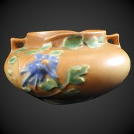 Roseville Pottery Columbine Bowl Tan with Blue Flowers 655-3