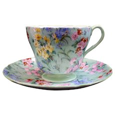 Shelley Fine Bone China Footed Cup & Saucer Melody Chintz Henley Shape 13453