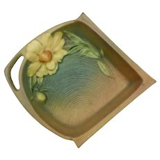 Roseville Pottery Peony Pink and Green Tray 434-6