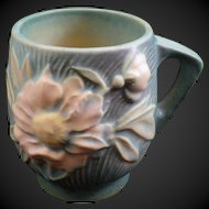 Roseville Art Pottery Cup Mug #2-3 1/2 Peony Nile Green