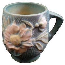 Roseville Art Pottery Cup Mug #2-3 1/2 Peony Nile Green
