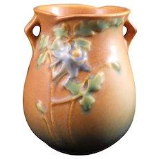 Vintage Roseville Pottery Columbine Pattern Handled Vase 12-4