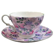 "Shelley Henley Pink ""Summer Glory Chintz"" Cup & Saucer"