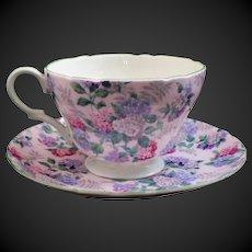 "Shelley Henley Pink ""Summer Glory Chintz"" Cup & Saucer"