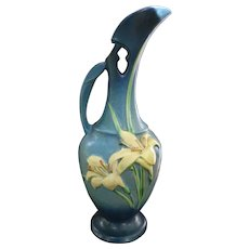 Roseville Pottery Zephyr Lily Blue Ewer 24-15 Pitcher