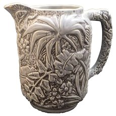 Weller Art Pottery Unusual Grey Blue Marvo Jungle Leaves Water Pitcher