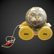 1988 Briere Studio Folk Art Roly Poly Pull Toy - Gray Cat Ball & Cart #1202