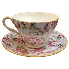 Shelley China Maytime Cup and Saucer Yellow Trim Henley Shape 13452