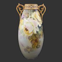 Antique Hand Painted Nippon Moriage Handle Porcelain Roses Vase Mark #52