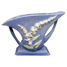 """Roseville Pottery Foxglove Blue 165-5"""" Flower Holder Vase"""