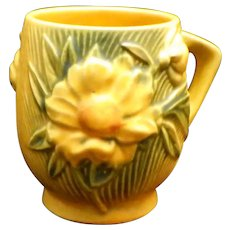 Roseville 2-3 1/2 Yellow Peony Art Pottery Mug