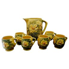 Roseville Peony Ice Lip Pitcher 1326-7 1/2 and 6 Mugs 2-3 1/2