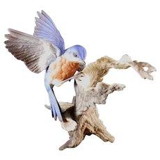 Boehm Porcelain Bluebird on Tree Stump #40323