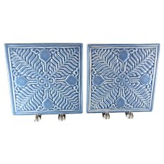 Pair of 1954 Rookwood LIV Zonta International Blue Geometric Leaf & Scroll Footed Trivets
