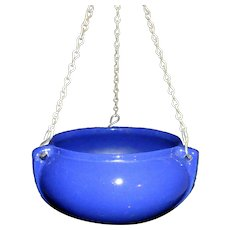 Roseville Pottery 1916 Rosecraft Dark Blue Glaze Hanging Planter