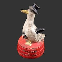 Figural Cast Iron Hubley Save For A Rainy Day Duck Still Bank Vintage 1930's